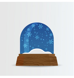 Snow ball snow globe with snow fall and snowdrift vector