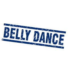 Square grunge blue belly dance stamp vector