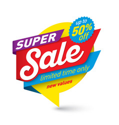 Super sale banner template special offer end of vector