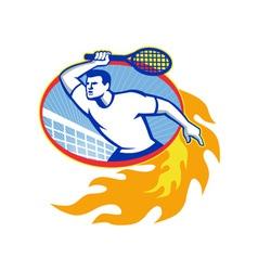 Tennis Player Racquet Retro vector