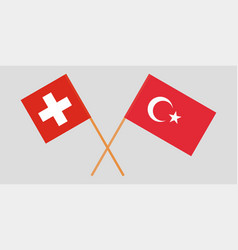 The crossed turkey and switzerland flags vector