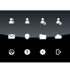 User Account icons on black background vector image