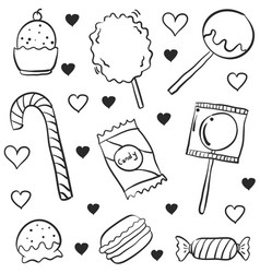 various candy style doodles vector image