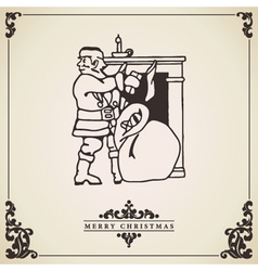 Vintage christmas card Santa by the fireplace vector
