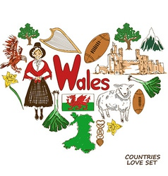 Wales symbols in heart shape concept vector