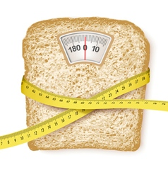 Weighing scales in form of a bread slice and vector