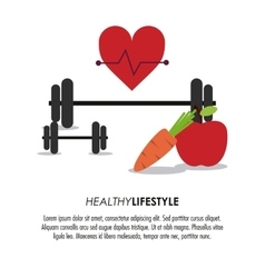 Weight heart apple carrot icon Healthy lifestyle vector