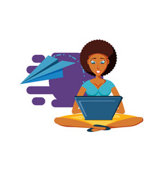 Woman black sitting with laptop computer and vector