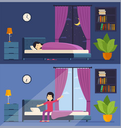 Woman sleeps in bed at night and wakes up in the vector