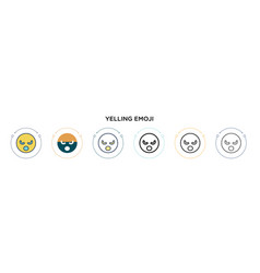 Yelling emoji icon in filled thin line outline vector