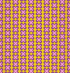 Cute violet flower on yellow background pattern vector image