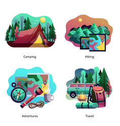 hiking camping abstract concept vector image vector image