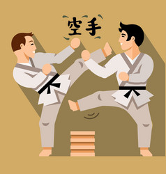 karate fight flat style colorful cartoon vector image vector image