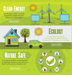 set of three horizontal ecology banners with vector image