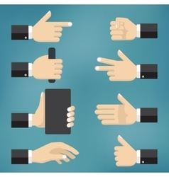 collection of hand gestures vector image vector image