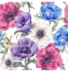 Floral seamless pattern with blooming anemones vector image vector image