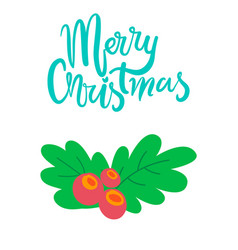 merry christmas postcard branch of mistletoe tree vector image