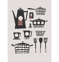 Retro Kitchen Set vector image vector image