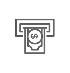 simple insert credit card and bank atm line icon vector image