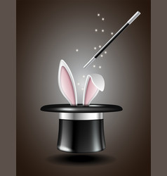 White rabbit ears appear from the magic hat vector