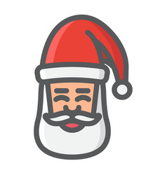 santa claus face filled outline icon new year vector image vector image