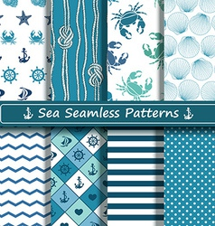 Set of sea seamless patterns vector image