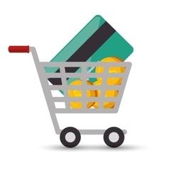 shopping cart online money credit card coin design vector image
