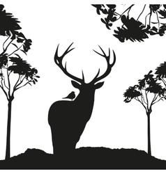 vecrot black deer in the woods stencil vector image vector image