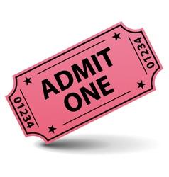 admit one pink ticket vector image