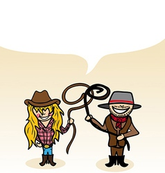 Australian cartoon couple bubble dialogue vector image vector image