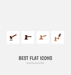 flat icon court set of hammer government building vector image vector image