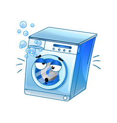 funny automatic washer cartoon character vector image vector image