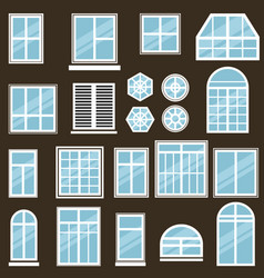 set of window icons vector image