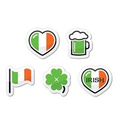 St Patricks Day icons - irish flag clover green vector image vector image