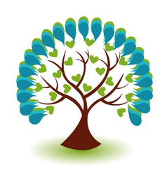 Tree hearts business logo vector image vector image