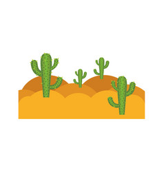 white background with landscape of desert with vector image