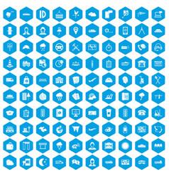 100 dispatcher icons set blue vector