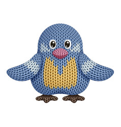 A funny knitted bird toy on white background vector