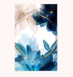 abstract template in blue color with florals vector image