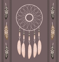 American indian magical dreamcatcher with feathers vector