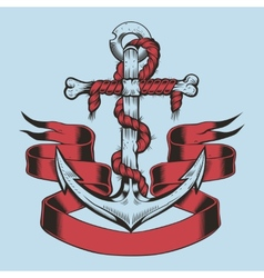 Anchor with ribbon and rope vector