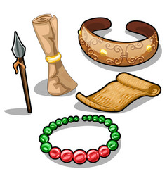 ancient weapons characters and jewelry vector image vector image