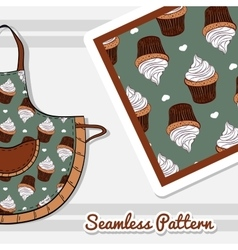Apron With Creamy Cupcakes vector image