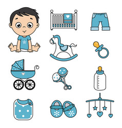 Baby boy and baby icons vector