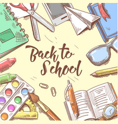 Back to school doodle educational hand drawn vector