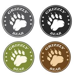 Bear paw print circle logo design collection vector