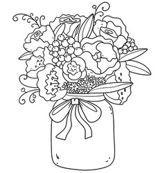 beautiful bouquet with peonies roses daisies li vector image