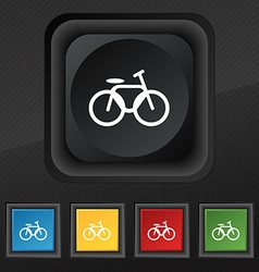 Bicycle bike icon symbol Set of five colorful vector image