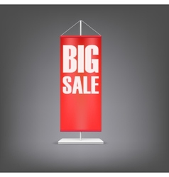 Big sale Vertical red flag at the pillar vector image