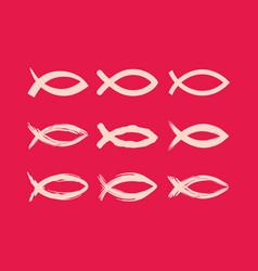 Big set of christian fish vector